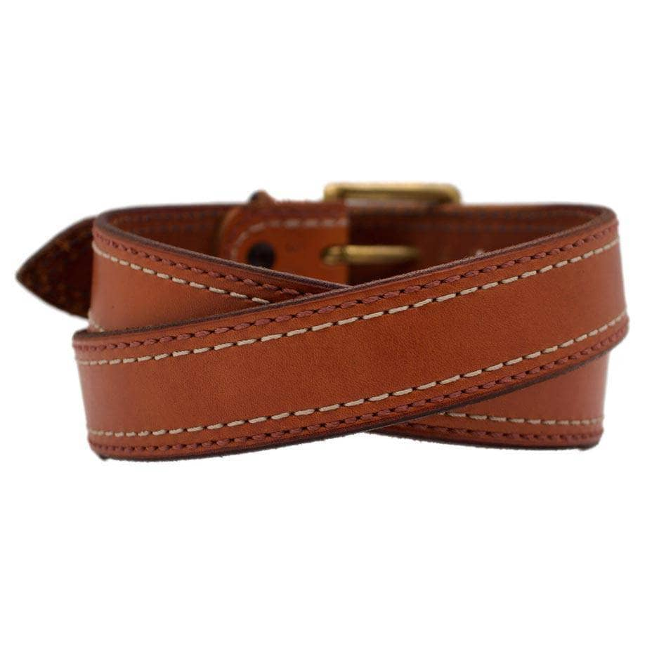 Back Side of Belmont Mens Brown Leather Belt with Solid Brass buckle