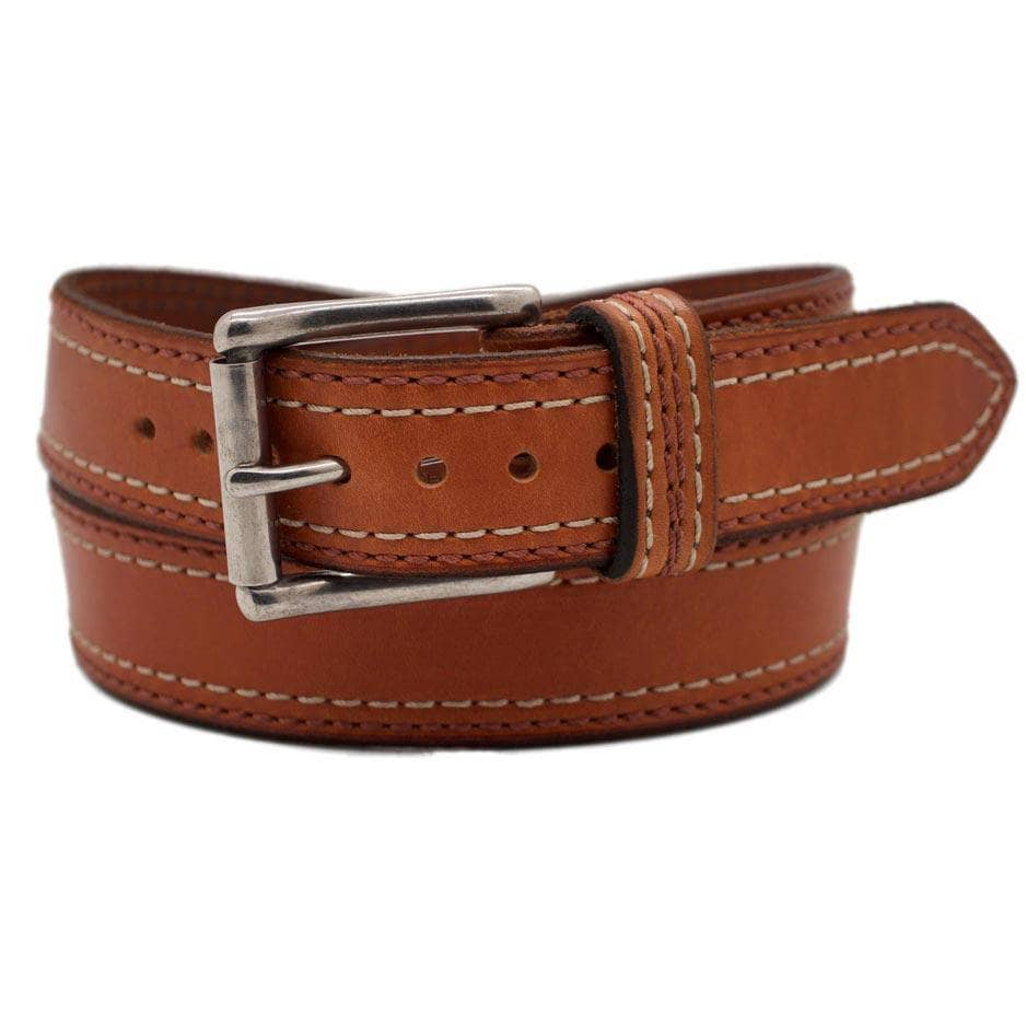 Front Side of Belmont Mens Brown Leather Belt with Stainless Steel buckle
