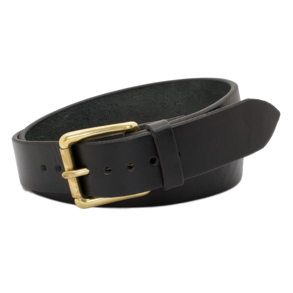 Front Side of Classic Black with Solid Brass buckle