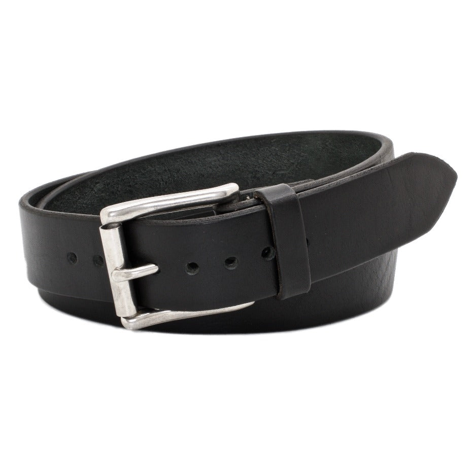 Front Side of Classic Black Mens Leather Belt with Stainless Steel buckle
