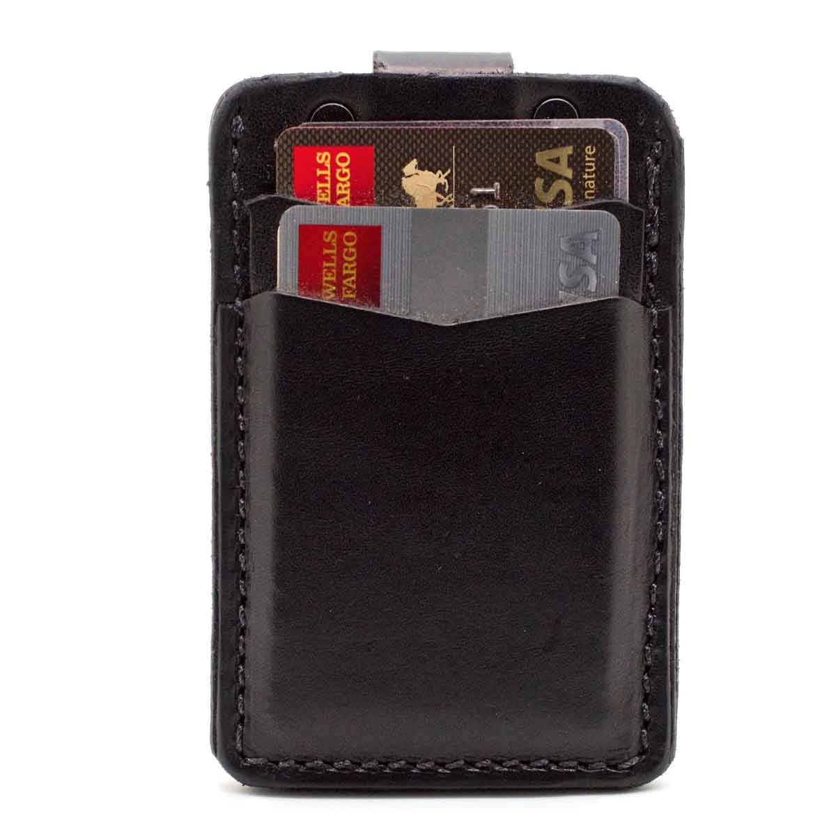 Front side of black minimalist wallet with 2 pockets showing cards