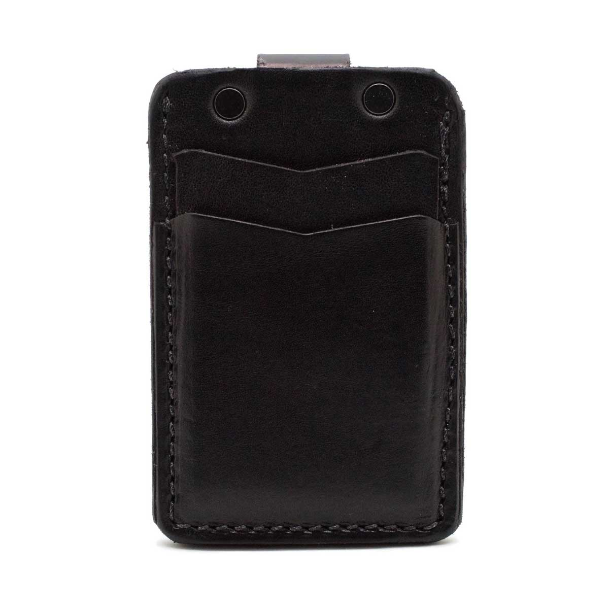 Front side of black minimalist wallet showing 2 pockets empty