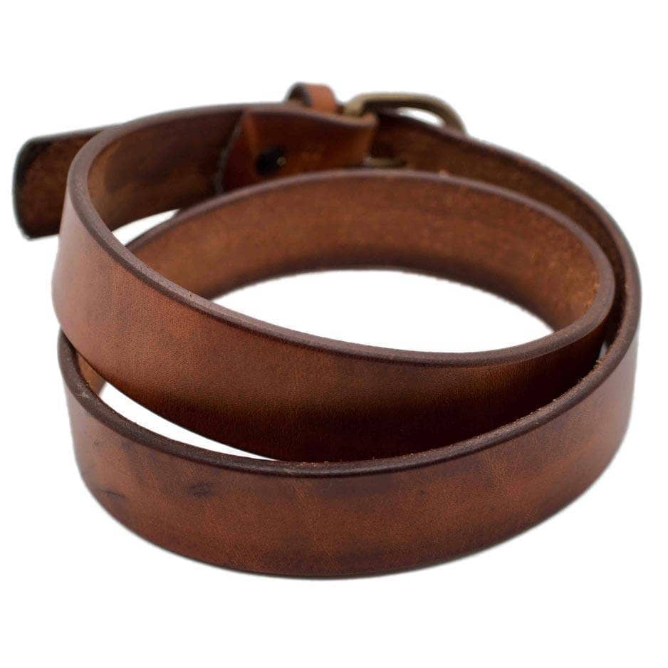 Front Side of Brooke Womens Brown Leather Belt with Antique Brass buckle