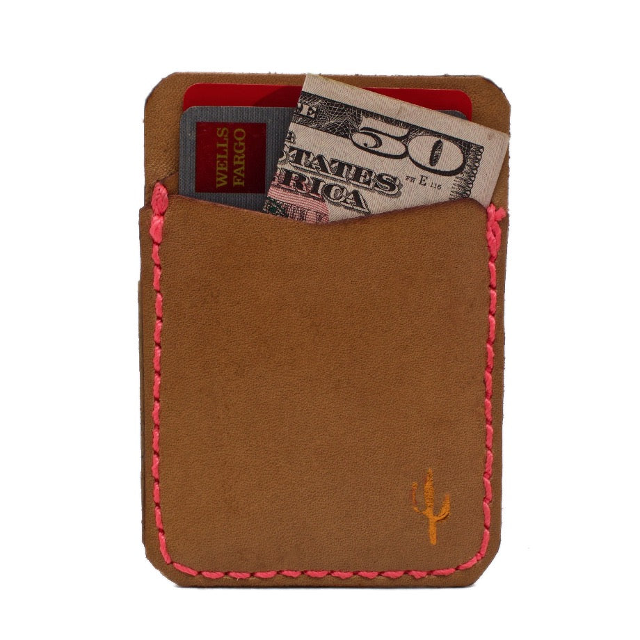 The CAMILLE Saddle Leather Stick On Phone Wallet with Extra 3M® adhesive sheet