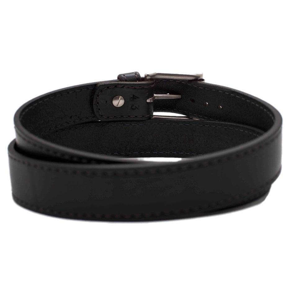 Back Side of Carnegie Mens Black Leather Belt with Stainless Steel buckle
