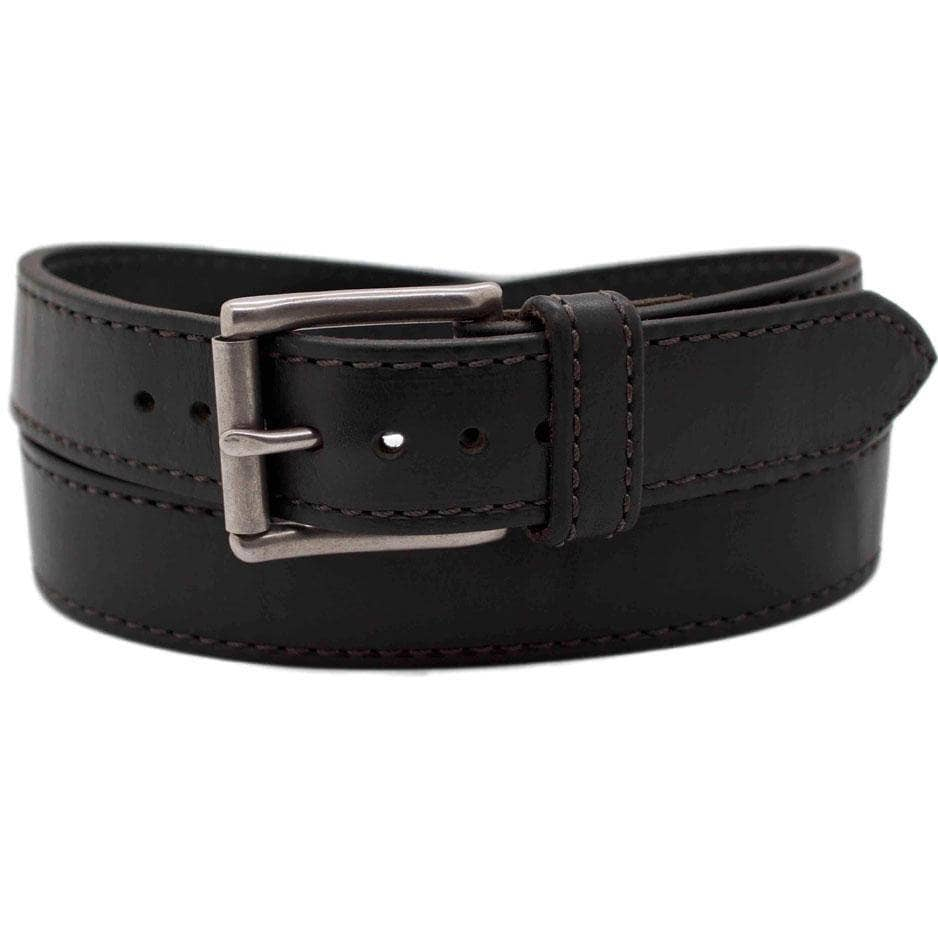 Front Side of Carnegie Mens Black Leather Belt with Stainless Steel buckle