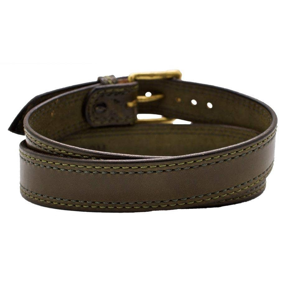 Back Side of Cedar Lane Mens Olive Green Leather Belt with Solid Brass buckle