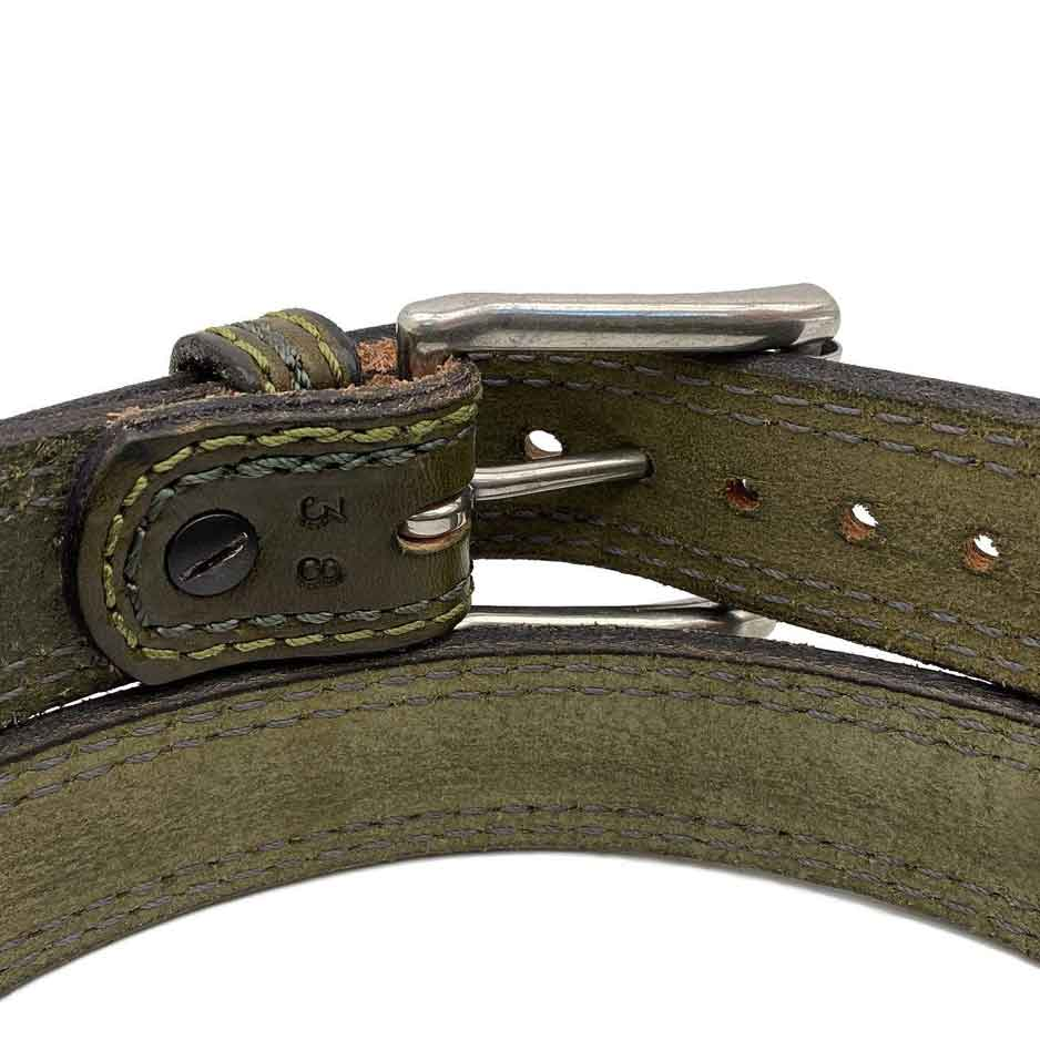 Closeup of Back Side of Cedar Lane Mens Olive Green Leather Belt with Stainless Steel buckle