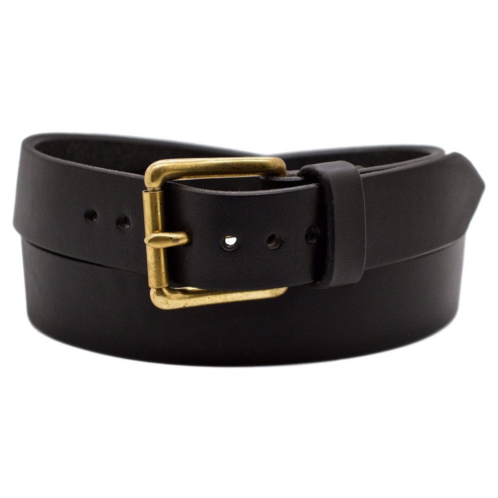 Front Side of Classic Black Mens Leather Belt with Solid Brass buckle