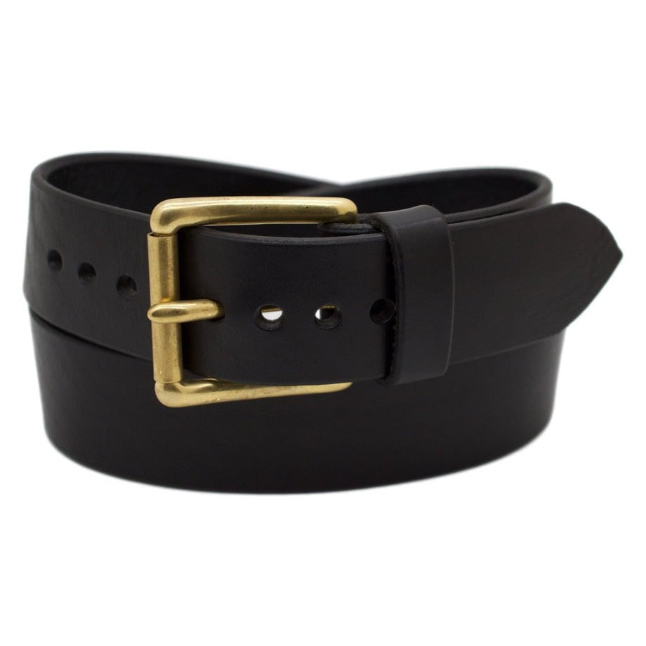 Front Side of Classic Black Mens Wide Leather Belt with Solid Brass buckle