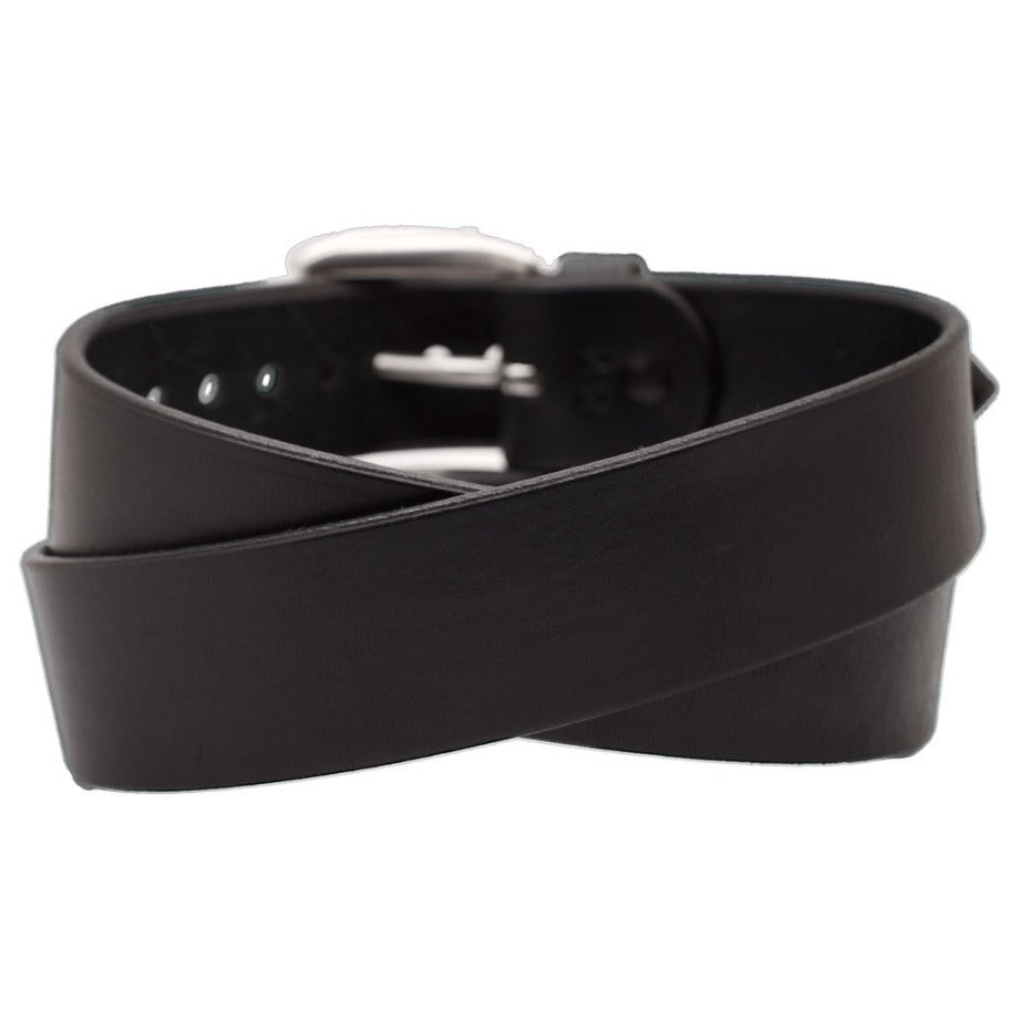 Back Side of Classic Black Mens Wide Leather Belt with Stainless Steel buckle