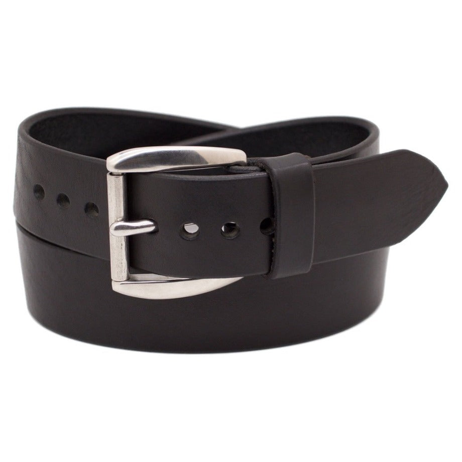 Front Side of Classic Black Mens Wide Leather Belt with Stainless Steel buckle