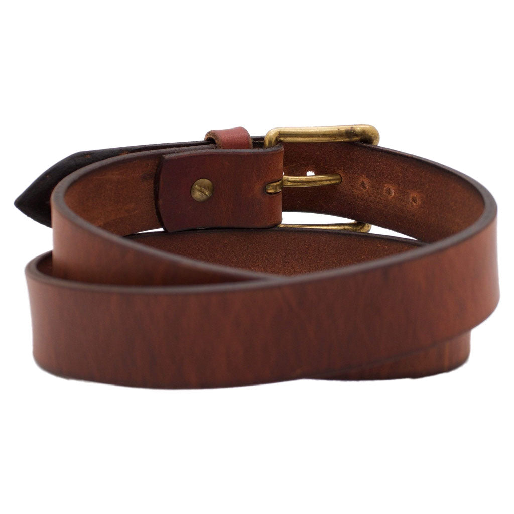 Back Side of Classic Copper Mens Brown Leather Belt with Solid Brass Buckle