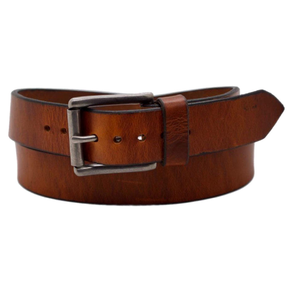 Front Side of Classic Copper Mens Brown Leather Belt with Stainless Steel Buckle