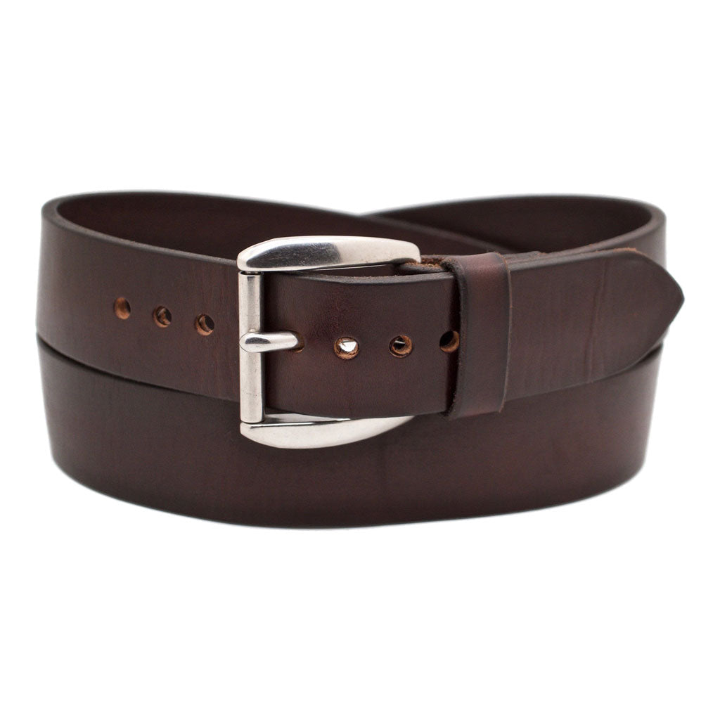Front Side of Classic Espresso Mens Wide Brown Leather Belt with Stainless Steel Buckle