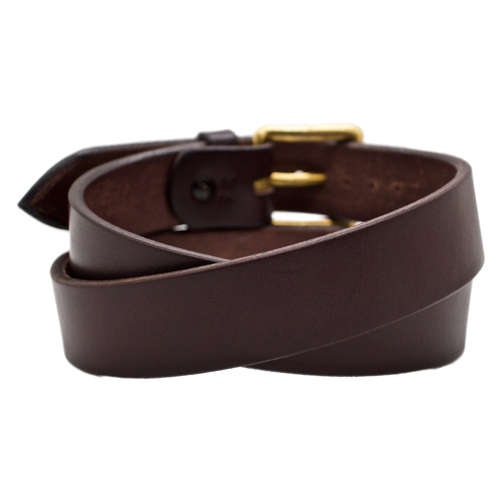 Back Side of Classic Espresso Mens Brown Leather Belt with Solid Brass Buckle
