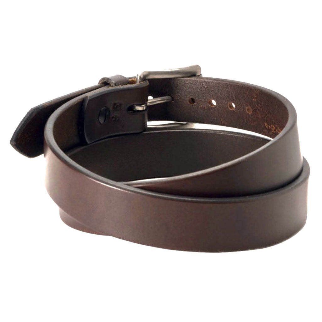 Back Side of Classic Espresso Narrow Mens Brown Leather Belt with Stainless Steel Buckle