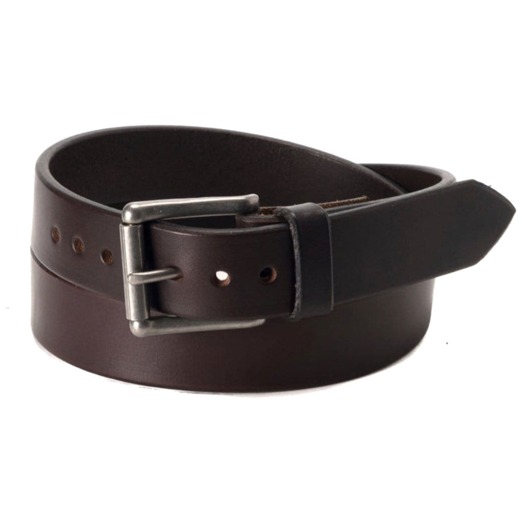 Front Side of Classic Espresso Narrow Mens Brown Leather Belt with Stainless Steel Buckle