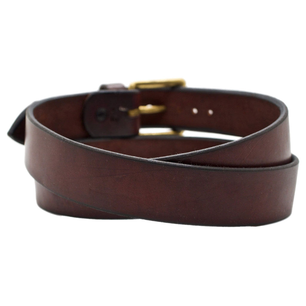 Back Side of Classic Mahogany Mens Brown Leather Belt with Solid Brass Buckle