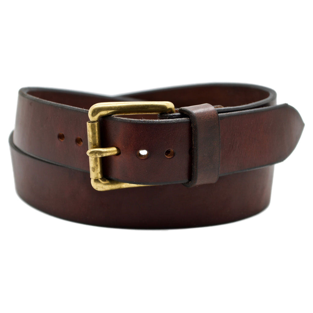 Front Side of Classic Narrow Mahogany Leather Belt with Stainless Steel buckle