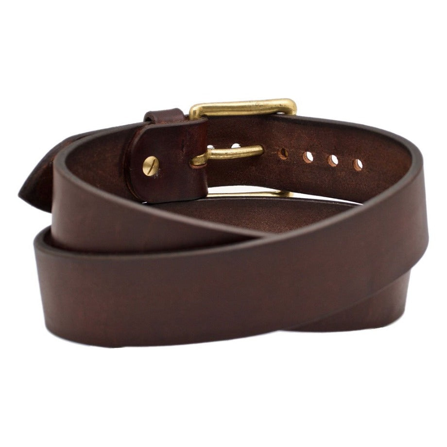 Front Side of Classic Mahogany Mens Wide Brown Leather Belt with Solid Brass Buckle