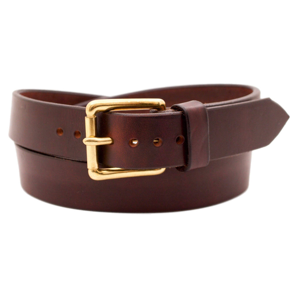 Front Side of Classic Merlot Mens Brown Leather Belt with Solid Brass Buckle