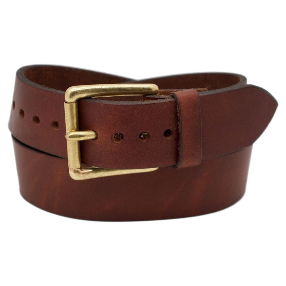 Front Side of Classic Mocha Mens Wide Brown Leather Belt with Solid Brass Buckle