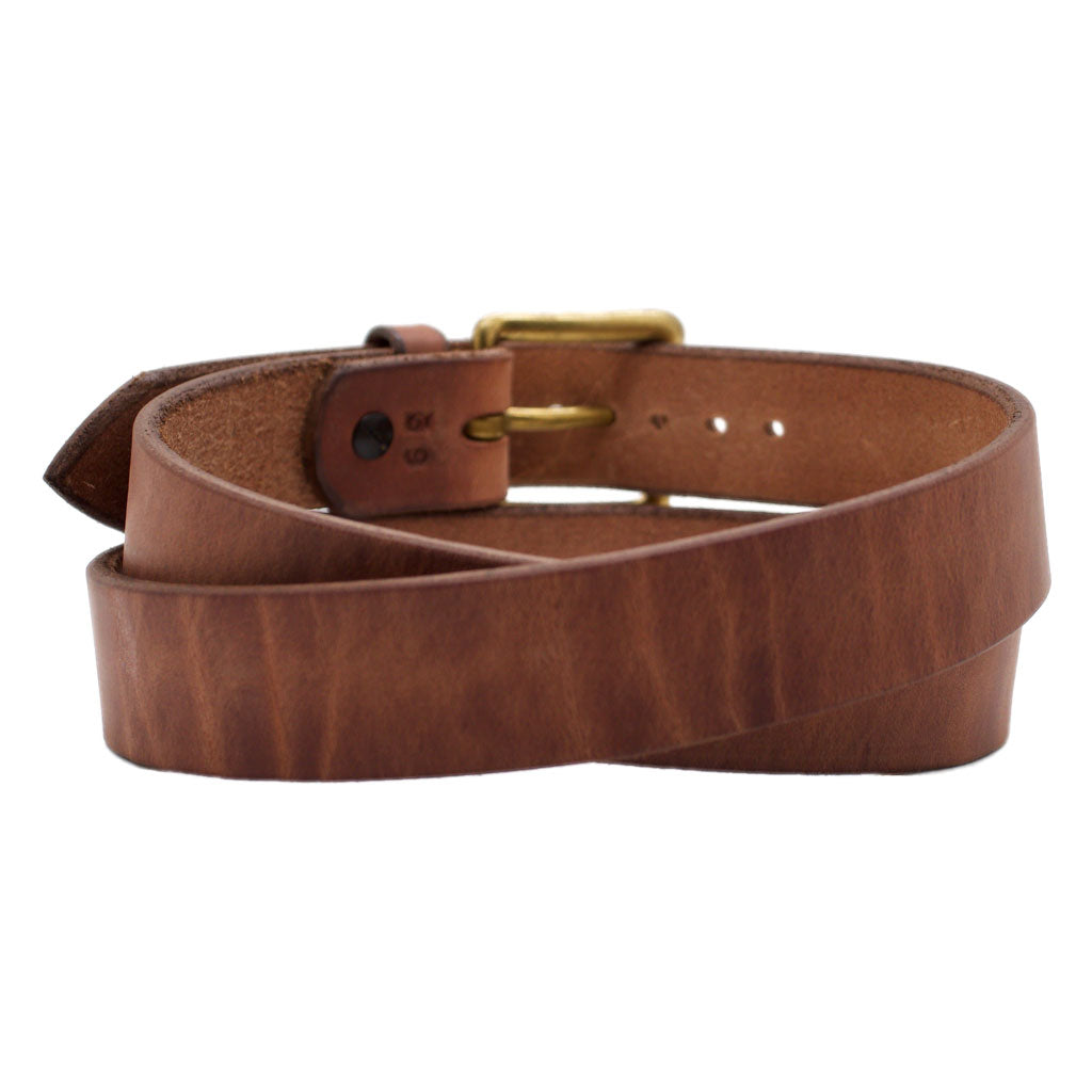Front Side of Classic Natural Mens Brown Leather Belt with Solid Brass Buckle