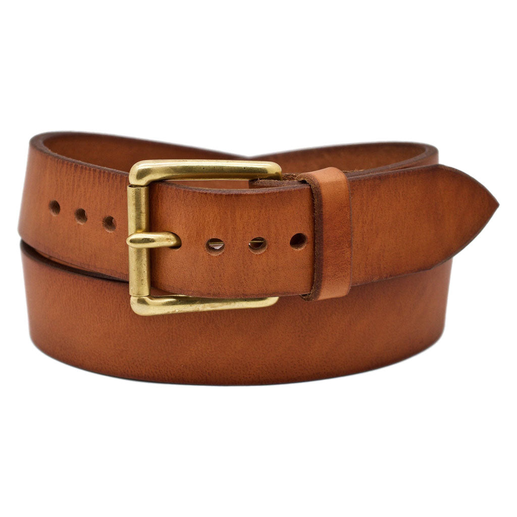 Front Side of Classic Sedona Mens Wide Brown Leather Belt with Solid Brass Buckle