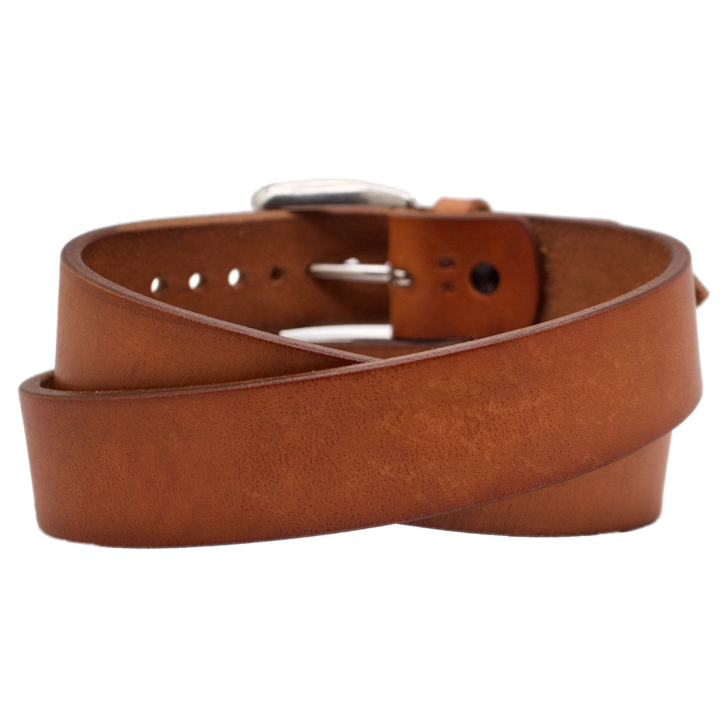 Back Side of Classic Sedona Mens Wide Brown Leather Belt with Stainless Steel Buckle
