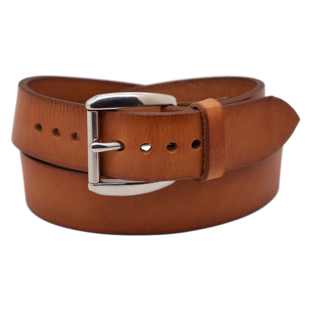 Front Side of Classic Sedona Mens Wide Brown Leather Belt with Stainless Steel Buckle