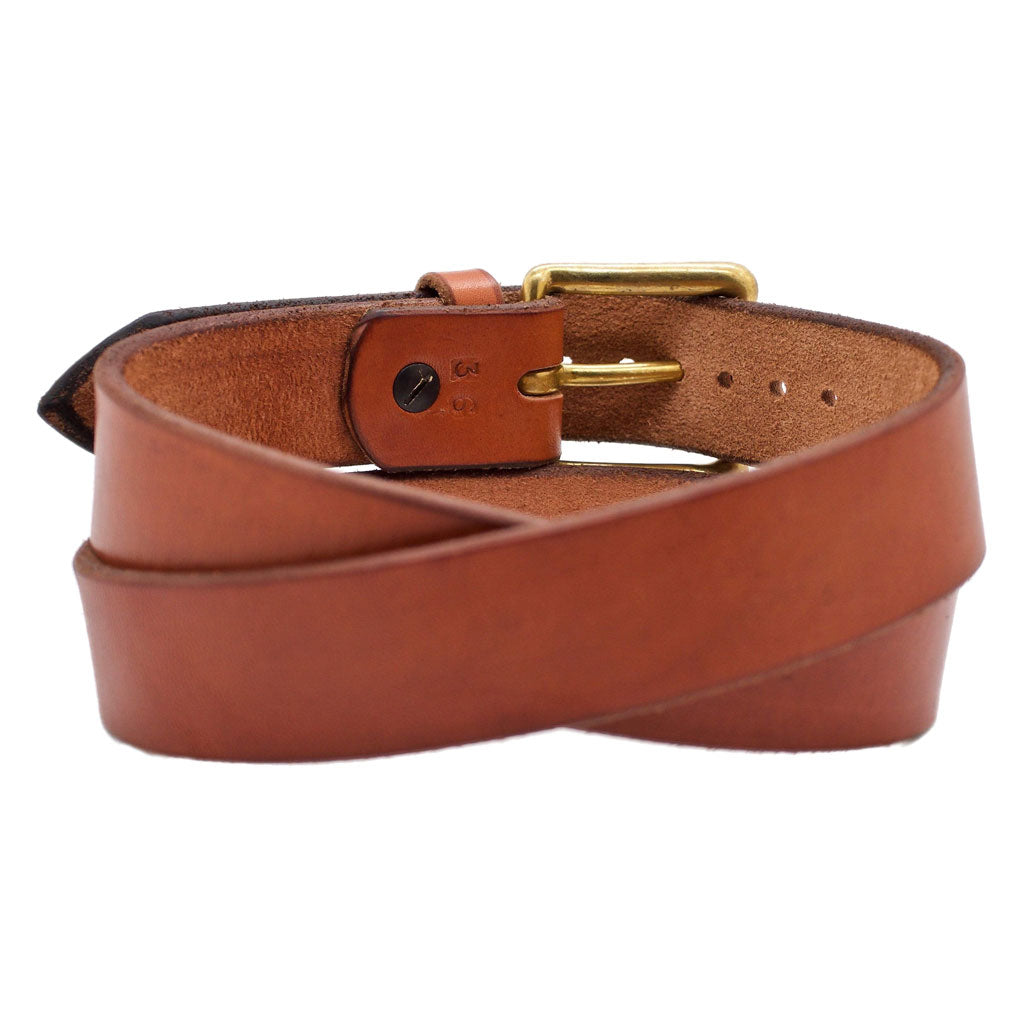 Back Side of Classic Sedona Mens Brown Leather Belt with Solid Brass Buckle