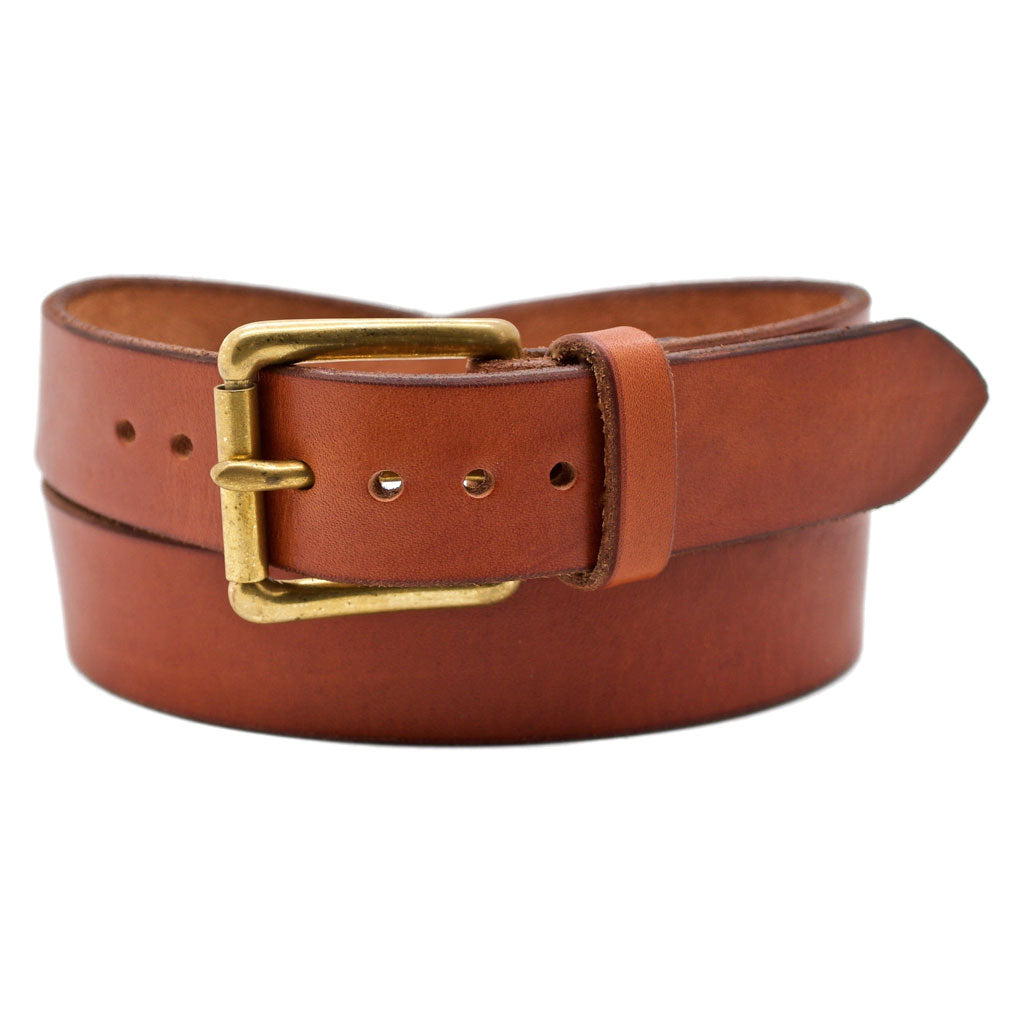 Front Side of Classic Sedona Mens Brown Leather Belt with Solid Brass Buckle