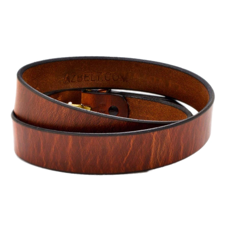 Back Side of Classic Copper Mens Leather Belt with Solid Brass buckle