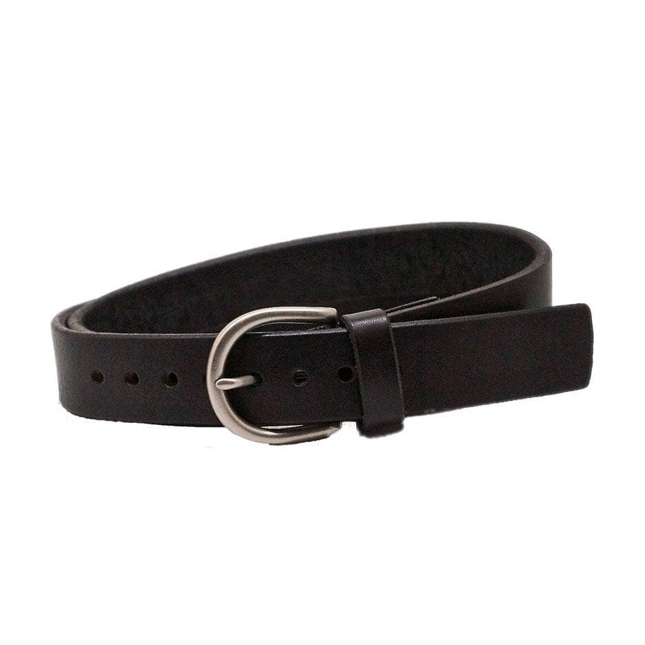 Front Side of Crosby Womens Black Leather Belt with Antique Silver Buckle
