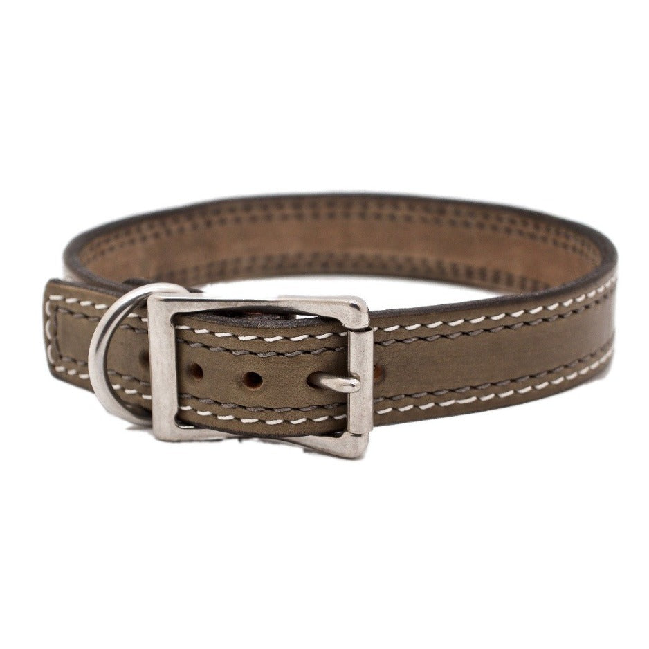 Front Side of Misty May Grey Dog Collar with Platinum and Steel Grey Stitch and Stainless Steel Buckle/D-ring