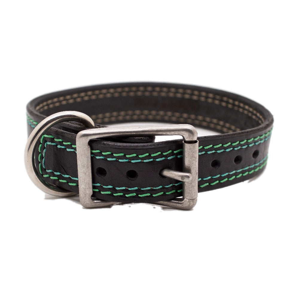Front Side of Montego Bay Black Dog Collar with Green and Blue Stitching and Stainless Steel Buckle and D-ring
