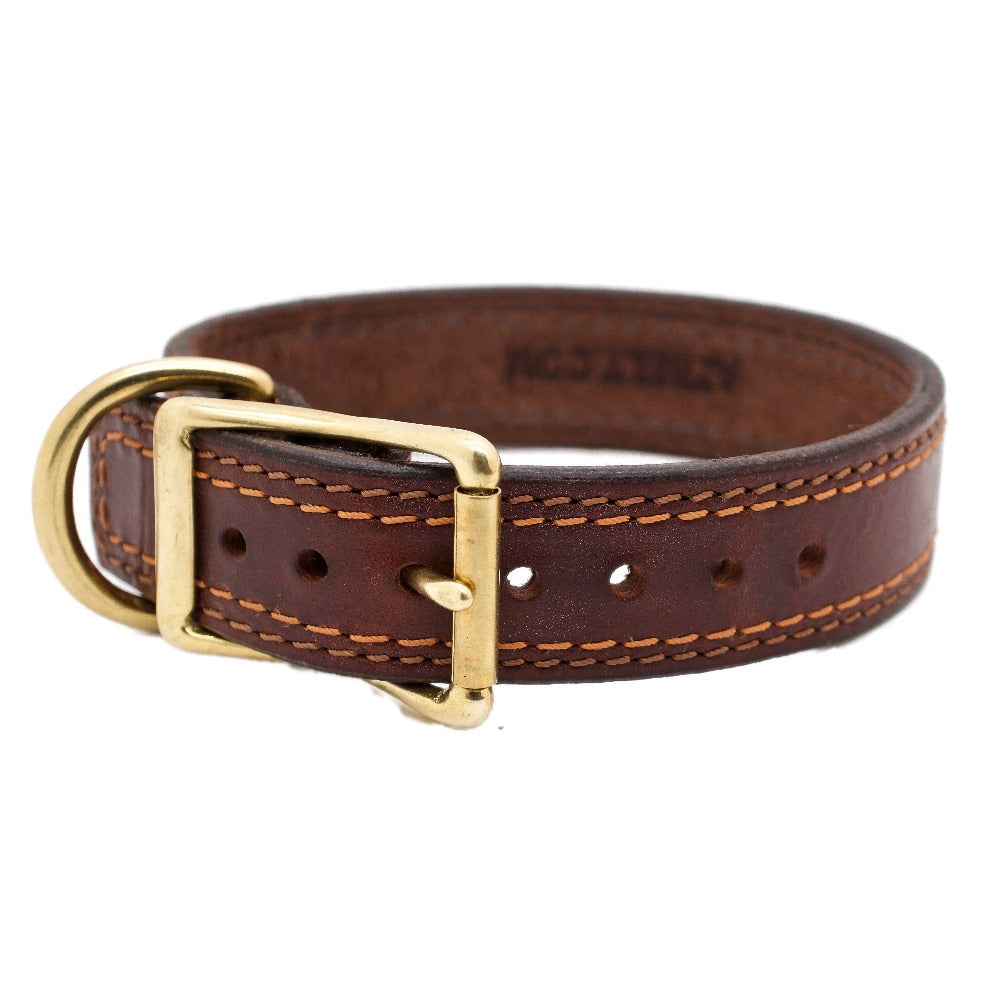 Front Side of Autumn Dog Collar with Solid Brass Buckle and D-ring