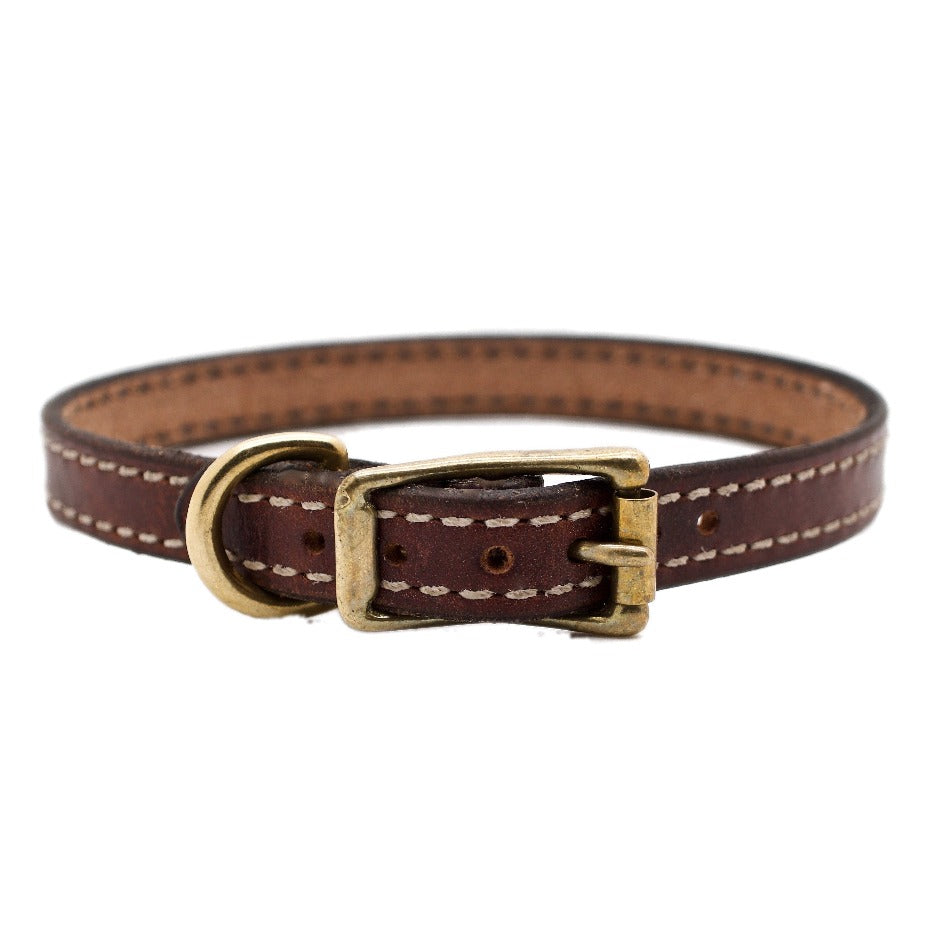 "Front Side of Brittany 5/8"" Mahogany Dog Collar with Parchment Stitch and Solid Brass Buckle and D-ring"