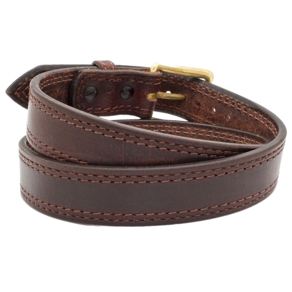 Back Side of The Ironwood Leather Gun Belt with Solid Brass buckle