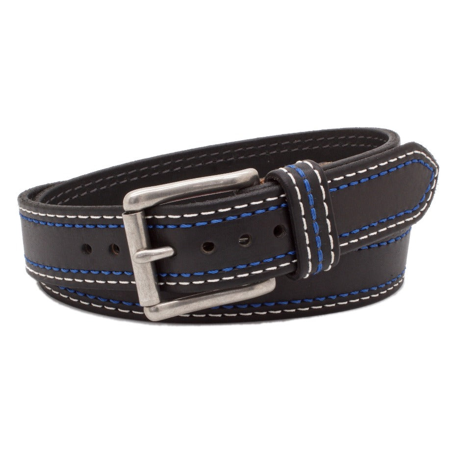 Front Side of GT500 Mens Black Leather Belt with Stainless Steel buckle
