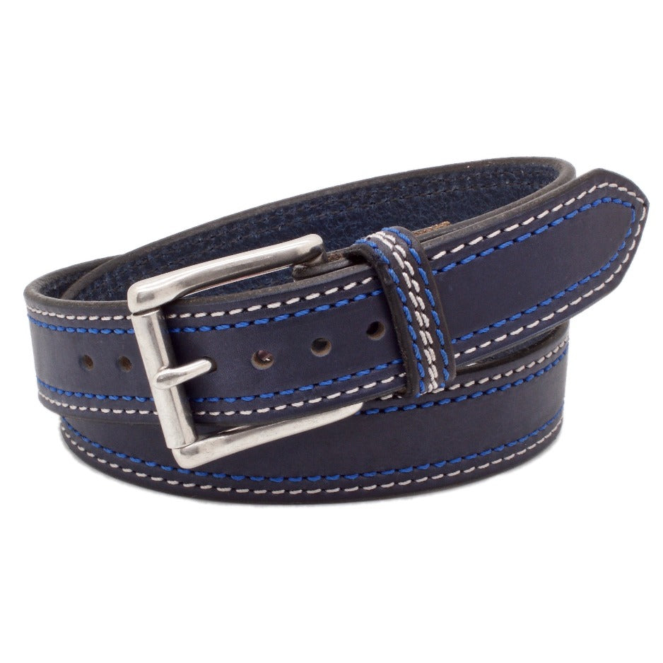 Front Side of Blueberry Hill 1.5 Leather Belt with Stainless Steel buckle