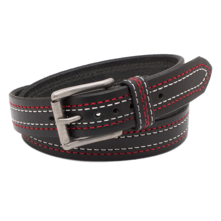 Front Side of Enzo Mens Black Leather Belt with Stainless Steel buckle