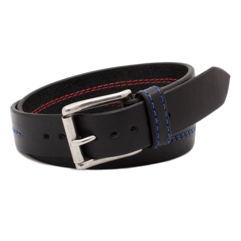 Front Side of Thin Blue Line Black Leather Belt with Blue Stitch and Stainless Steel buckle