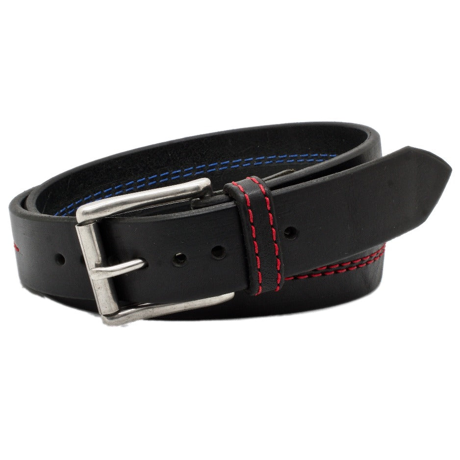 Front Side of Thin Red Line Black Leather Belt with Red Stitch and Stainless Steel buckle