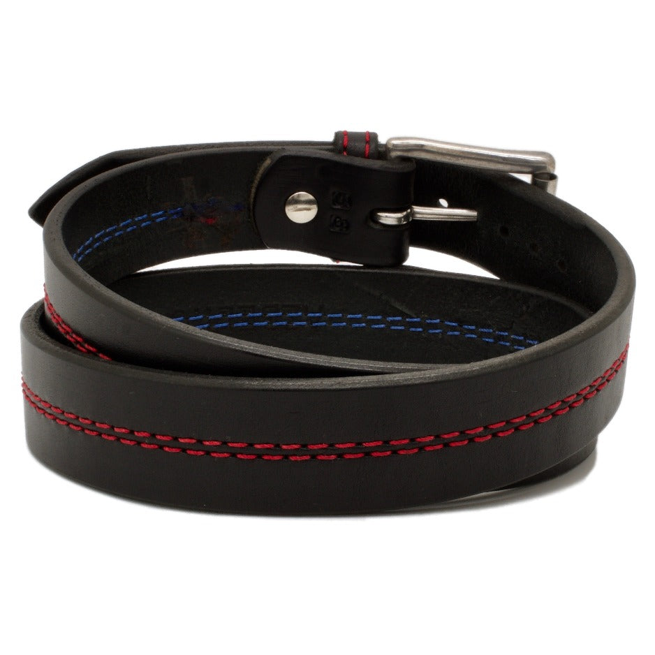 Back Side of Thin Red Line Black Leather Belt with Red Stitch and Stainless Steel buckle