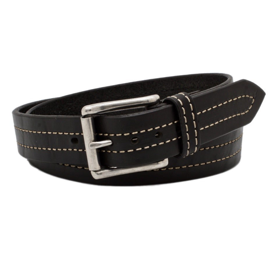 Front Side of Troubadour Mens Black Leather Belt with Stainless Steel