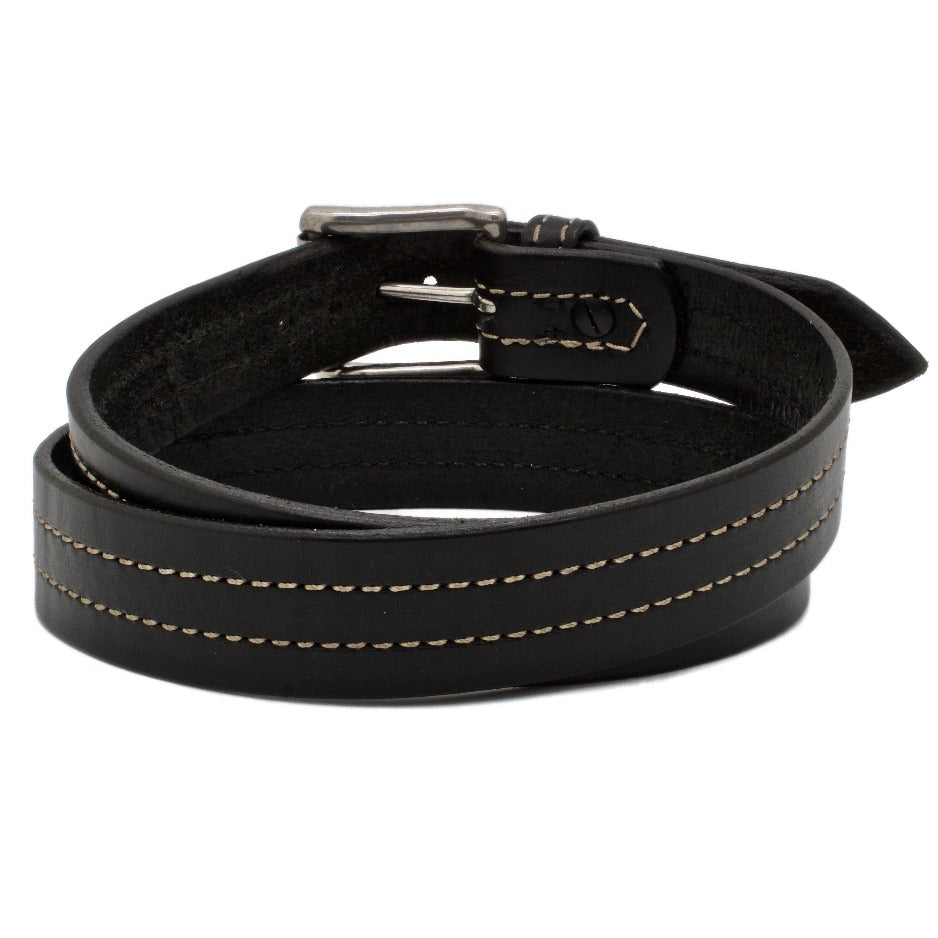 Back Side of Troubadour Mens Black Leather Belt with Stainless Steel buckle