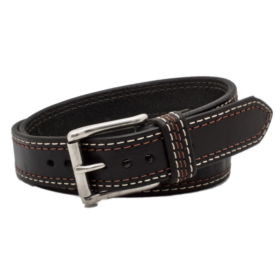Front Side of Union Square Mens Black Leather Belt with Stainless Steel buckle