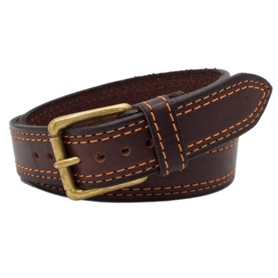 Front Side of Autumn Brown Mens Leather Belt with Solid Brass buckle